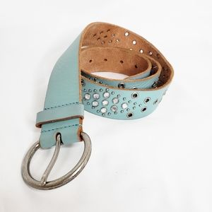 Aeropostale Rhinestone Leather Belt Turquoise L